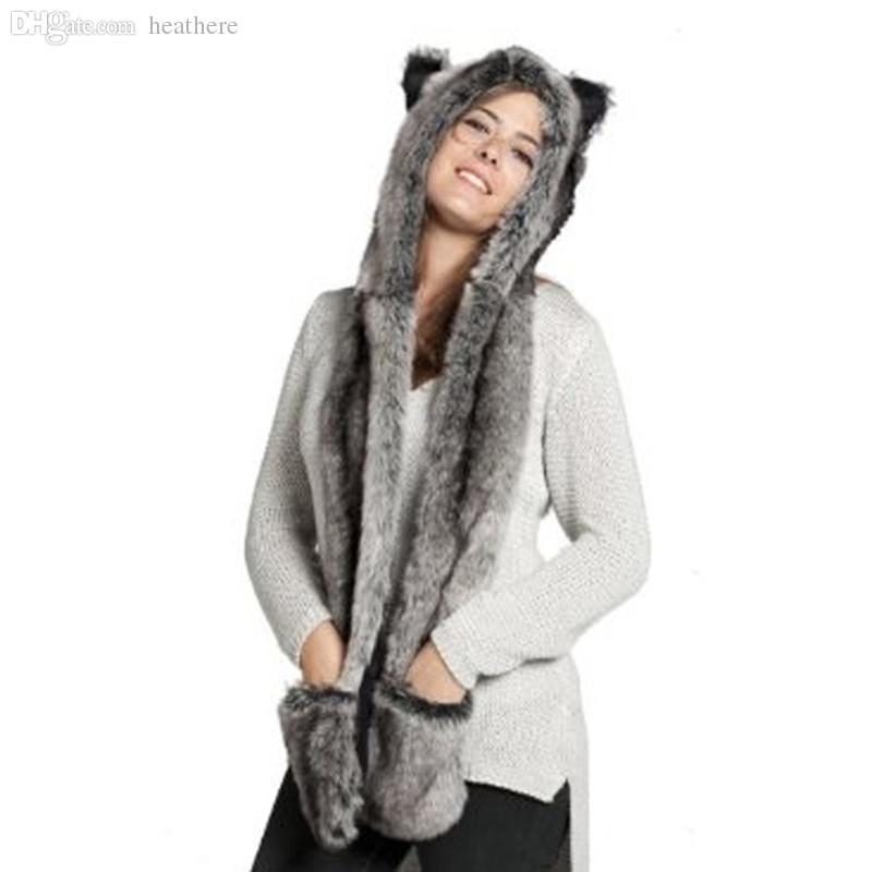 Atacado-Moda Inverno Quente Cachecóis Faux Animal Chapéu De Pele Macia Cachecol Xale Luva De Pelúcia Cap Luvas Chapéus Xmas a2 Q1