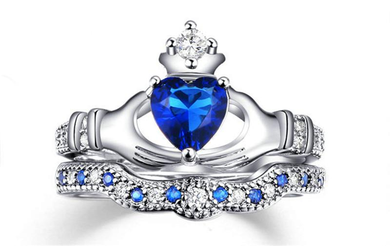 ... Holding The Sapphire Love Heart AAA+ CZ Diamond Crown Wedding Ring Sets  White Gold Silver Plated ...
