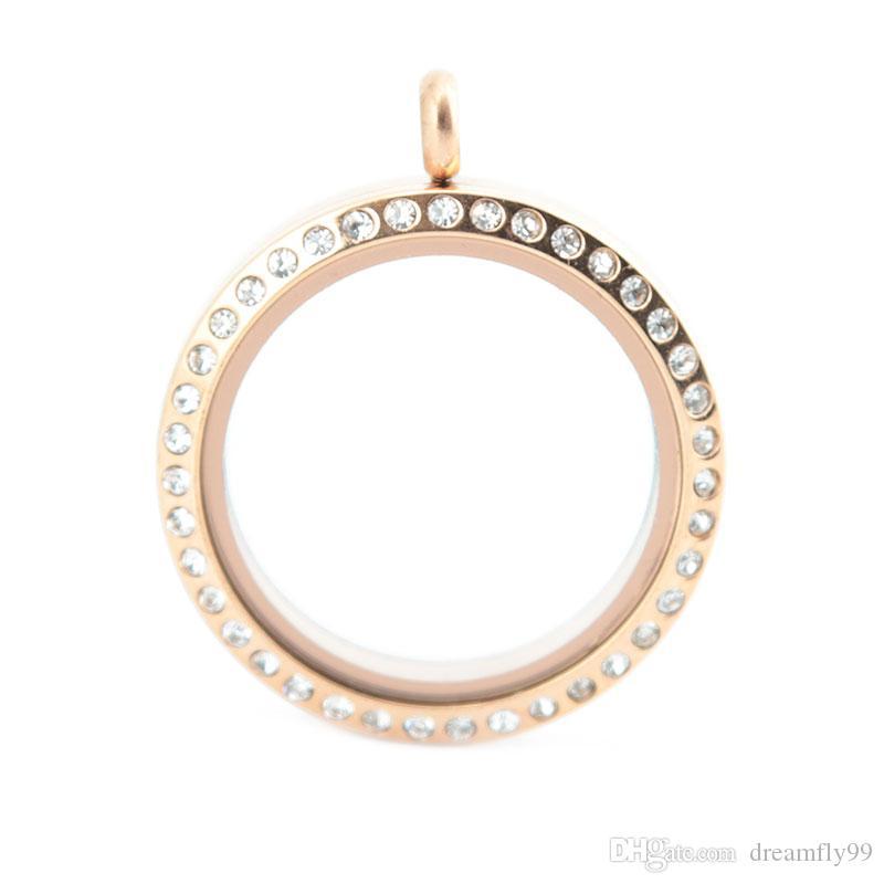 30mm runde schraube 10 stücke kristall rose gold edelstahl Memory living glas medaillon, glas medaillon schwimm charme für schwimm charme