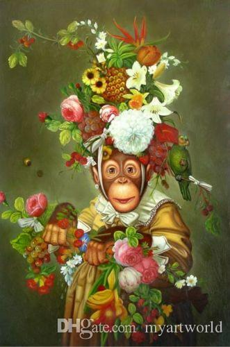 Framed Lovely Monkeys,High Quality genuine Hand Painted Animal Portrait Art oil Painting On Thick Canvas in Multi size,Free Shipping