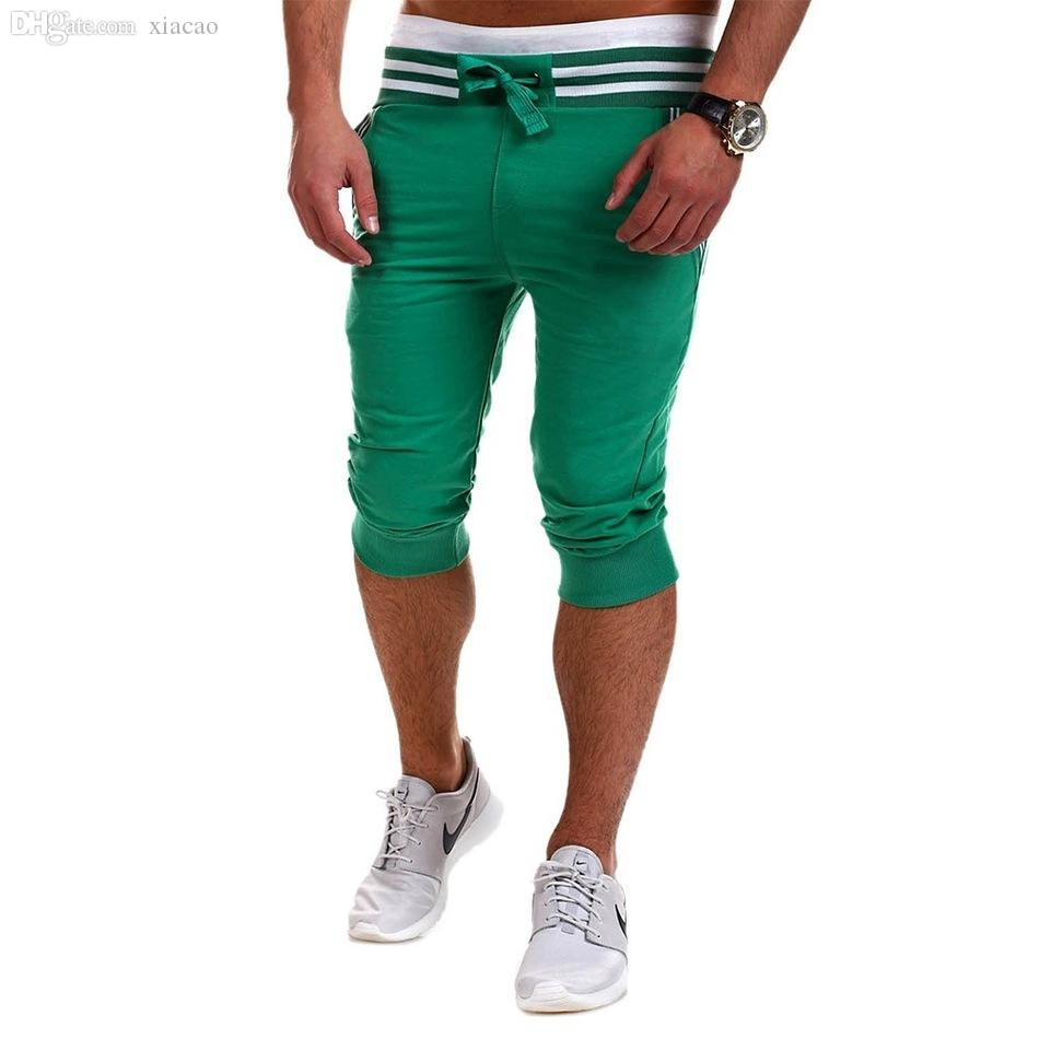 Wholesale-Running Promotion Skinny Cotton Polyester Mid Zipper  Solid 2016 New Good Quality Leisure Casual Man Knee Length Shorts