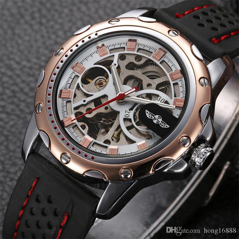 Winner automatic Mechanical self-Wind skeleton watch with Luxury men silica gel Watch strap Stainless Steel case dress wrist watche