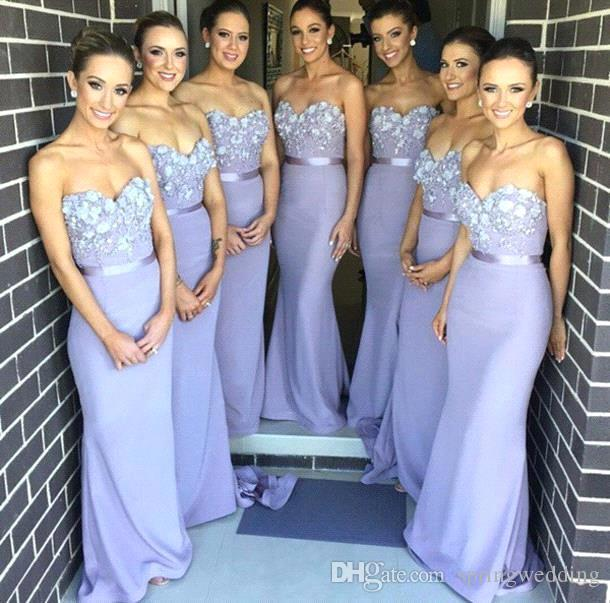 Lavender 2019 Sweetheart Mermaid Lace Long Bridesmaid Dresses Handmade Flowers Appliques Cheap Evening Gowns Purple Party formal Prom BO7784