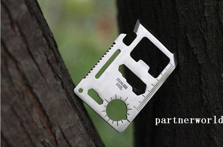 200 PCS Aço Inoxidável Multi Cartão De Crédito Ferramentas, Sobrevivência Ao Ar Livre Camping Portátil Bolso Carteira Ferramenta Faca Com Pacote De Couro