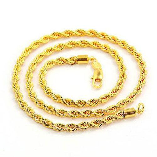 """14k amarelo dos homens banhado a ouro Filled GF Jóias Corda Colar Nó 23.6 """"Twist Link Chain"""