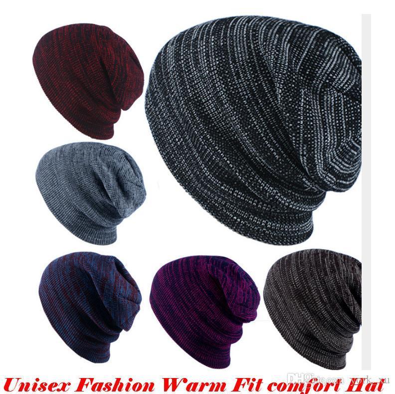 Unisex Fashion Cap Gorros Sombrero de esquí Invierno Cálido Sombrero de punto Gorra al aire libre para hombres y mujeres 6 colores Espesar OUT086