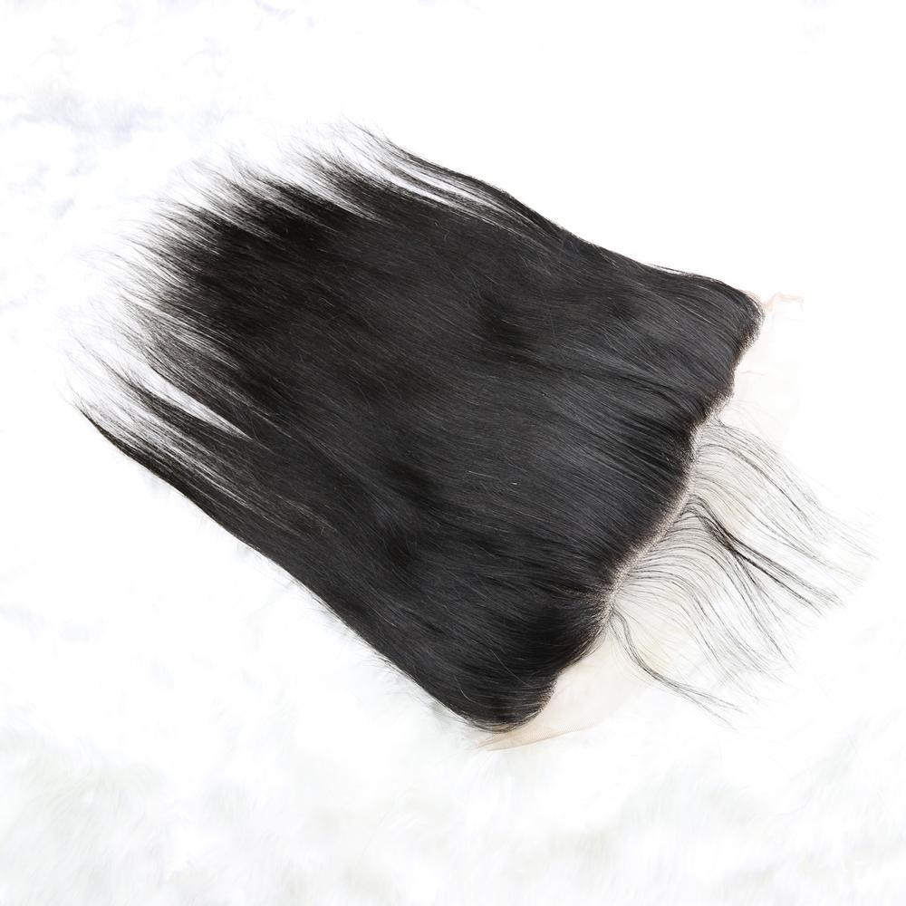 الرباط أمامي إغلاق البرازيلي الماليزي الهندي بيرو الكمبودي مستقيم عذراء الشعر البشري أعلى يشبع الإغلاق الأذن إلى الأذن 13x4 الحجم