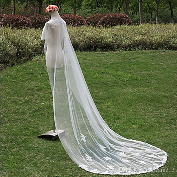 One Layer Lace Edge Applique Wedding Veil White Ivory Bridal Veil Chapel Length With Comb