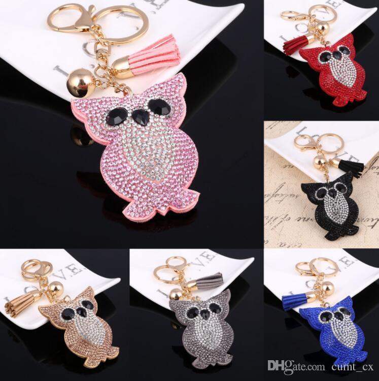 Мода сова кристалл горный хрусталь брелок ключ держатель кошелек сумка для автомобилей рождественские подарочные бренд бренд цепочка бесплатная доставка