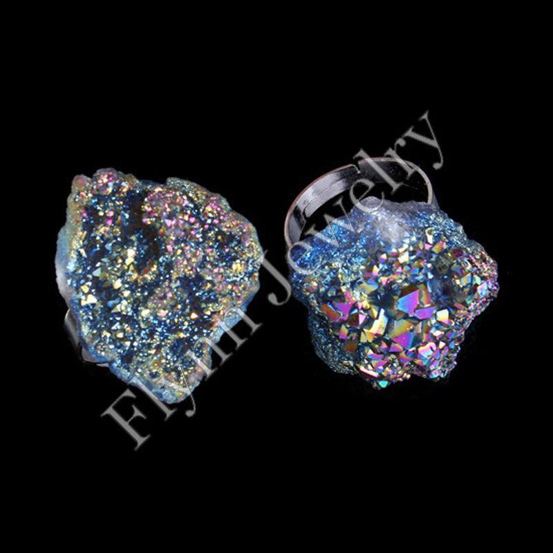 Anelli da uomo Anelli nuziali argento placcato cristallo Druzy Geode 6 colori gemma pietra anelli accessori regolabili gioielli europei di moda