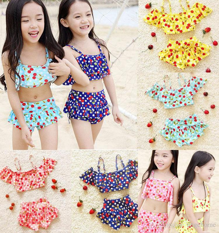 2016 Fashion children's bikini swimsuit girls cute cherry printed bikini swimwear Two-Pieces sets kids beach swimsuit spa swimwear