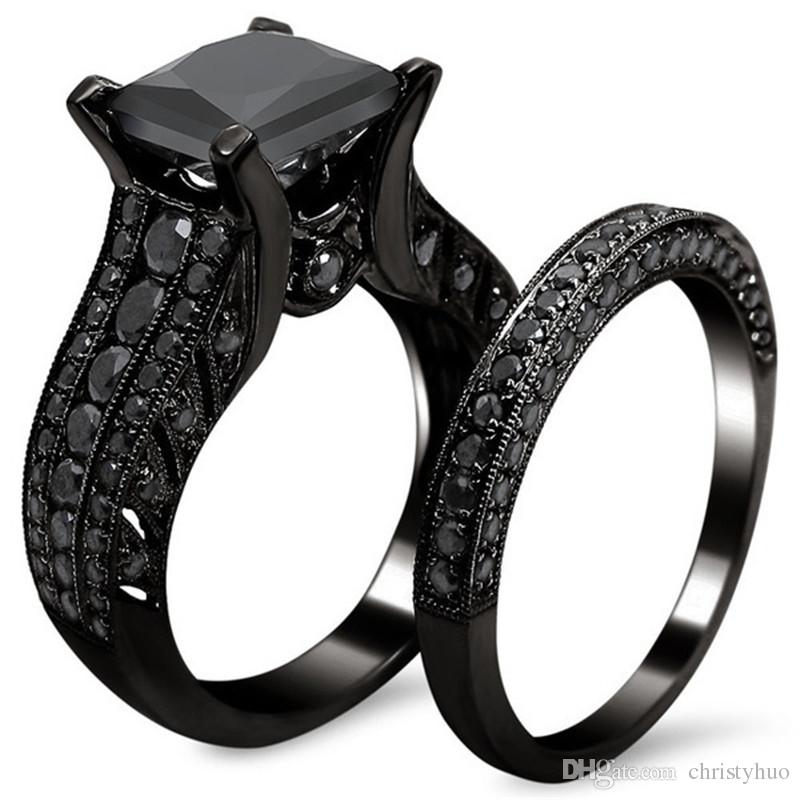 princess cut black zircon bridal set black gold filled solid ring set 2016 top fashion black - Black Wedding Ring Sets