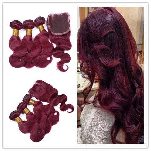 #99J Wine Red Brazilian Human Hair Weaves With Closure 4Pcs Lot Virgin Brazilian Burgundy Hair 3Bundles With 4x4 Lace Closure Body Wave
