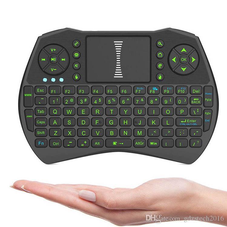 녹색 백라이트와 I9 미니 비행 공기 마우스 PC 노트북 안 드 로이드 TV 상자에 대 한 2.4 G 무선 키보드 원격 제어 장치 터치 패드