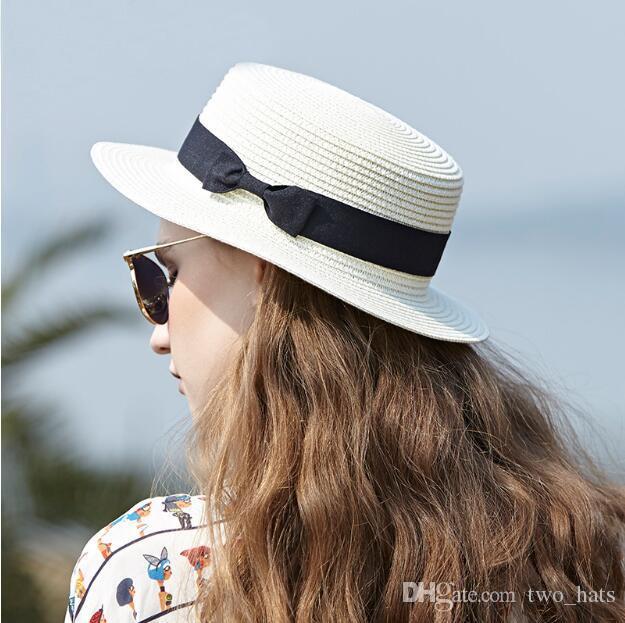 Femmes chapeaux de soleil de paille chapeaux de chapeaux de plage de vacances de style de vacances de plat chapeaux noirs de Bowknot de chapeau moyen décontracté Topwears
