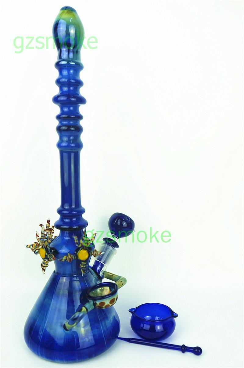 """큰 글래스 비커 봉 고급스러운 아름다운 16 """"물 파이프 색깔 키가 푸른 화려한 손으로 만든 dab rigs 오일 heady bongs 파이프 4 accessorie"""