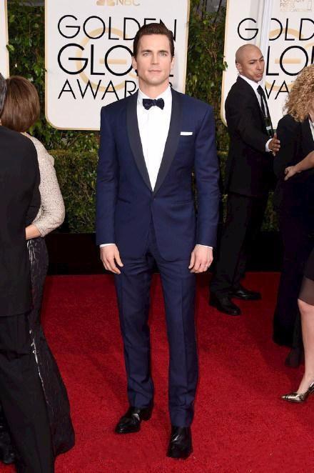 Golden Globe Matt Bomer Custom Made Groom Tuxedos Best Man Suit Wedding Groomsman Men Suits (Jacket+Pants+BowTie)