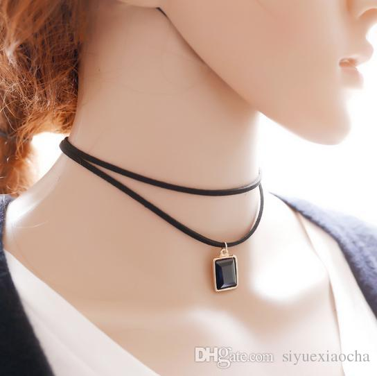 Sıcak! Siyah renkli taş kolye ile 2 zincirler kolye, vintage tarzı, kadınlar için asil ve narin, ücretsiz kargo ve yüksek kalite