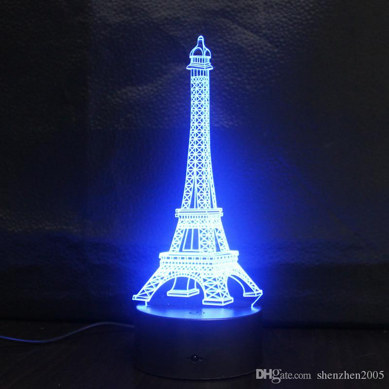 Eiffel Tower 3D illusion led night lights 7 Color Changeable fairy ...