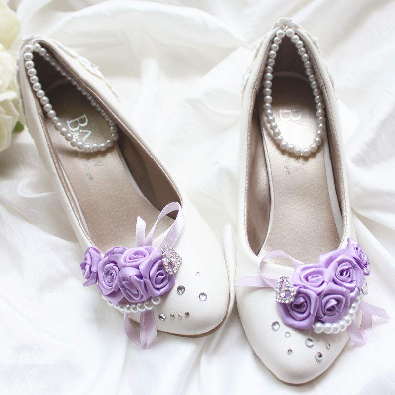 Chaussure de mariage diamant violet romantique dans des chaussures documentaires les chaussures de mariage mariée rose robe de demoiselle d'honneur robe robe de demoiselle d'honneur @ 1544