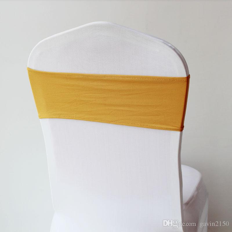 Free Shipping 25pcs High Quality Colorful Spandex Chair Cover Band Without Buckle for Hotel Wedding Decoration