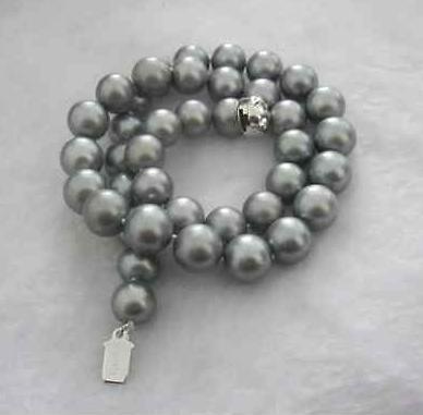 Elegante 10-11m Südsees natürliche runde silbergrau Perlenkette 18inch 925 Silber