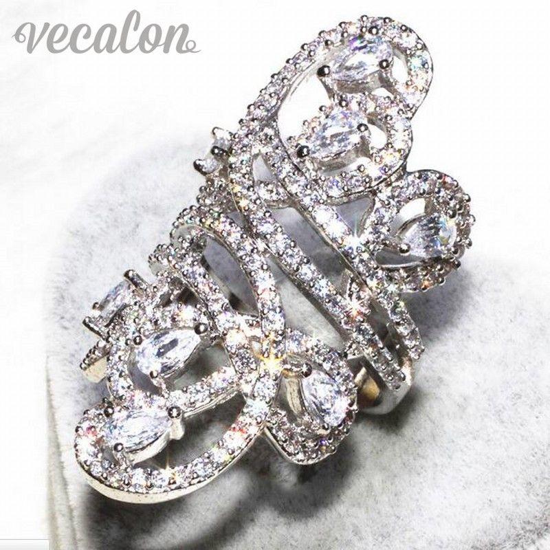 Vecalon linha Lindo anel Largo Mulheres Homens Jóias Simulado de diamante Cz 925 Sterling Silver anel de Noivado de casamento banda Sz 5-11