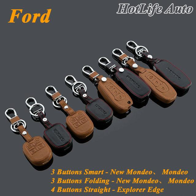 Genuine Leather Car Key Case Cover Keychain Fits for Ford Mondeo New Mondeo Explorer Edge Smart/Folding Remote Car Key Rings