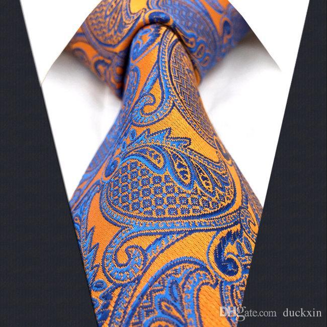 U26 꽃 오렌지 옐로우 블루 남성 넥타이 넥타이 100 % 실크 자카드 짠 브랜드 새로운