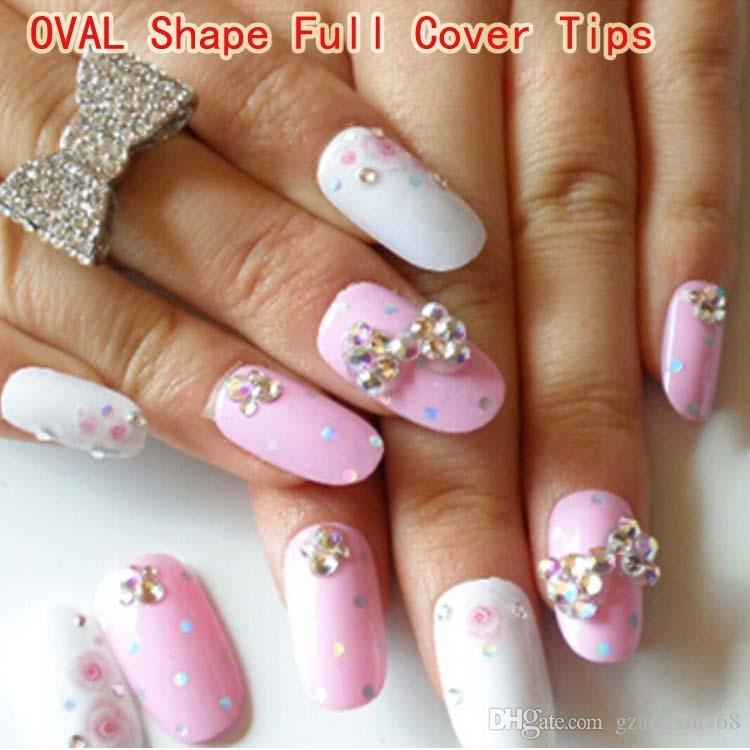 Oval Shape Full Cover Tips In Bag /Bag False Acrylic Nail Art Tips ...