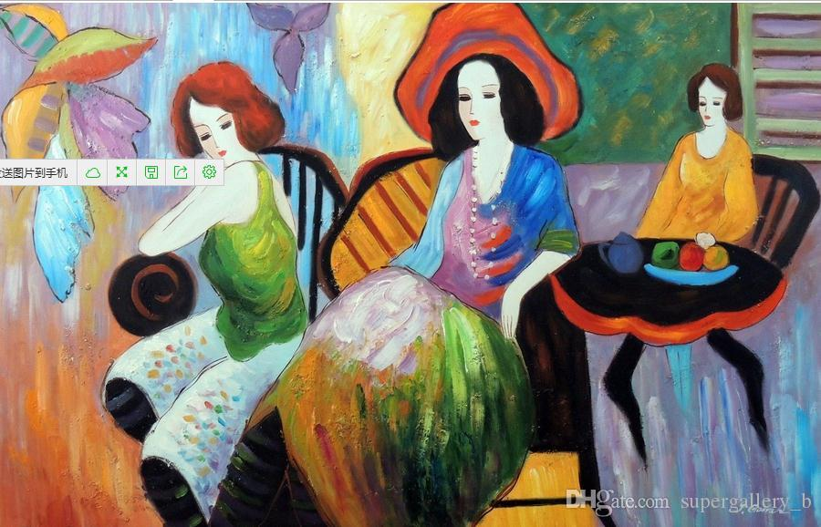 1920s Ladies Friends Coffee Shop Cafe Big Hat,Pure Handpainted Abstract Figure Art oil painting On High Quality Canvas size can customized