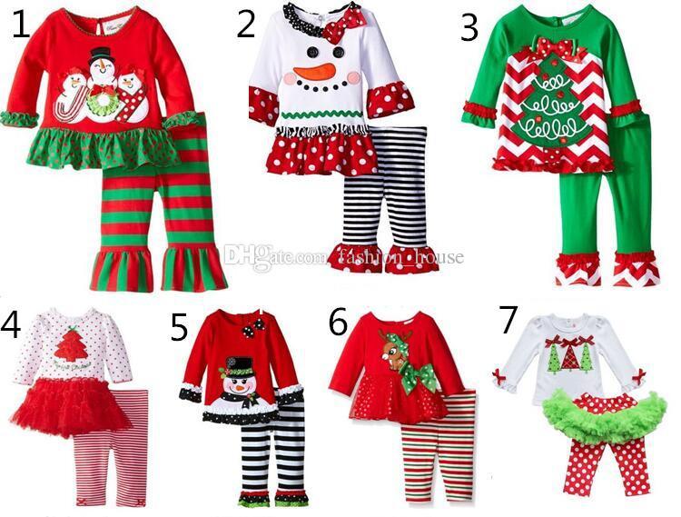 US Kid Baby Girl Ruffle Christmas Tree Top Tshirt Dress+Pants Outfit Set Clothes