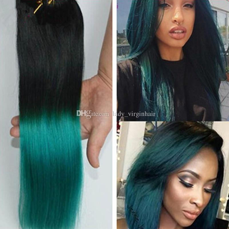 1B/green Ombre Hair Extensions Black to Green hair wefts Human Hair Weave Bundles 3Pcs Lot Ombre Brazilian silky Straight two tone Hair