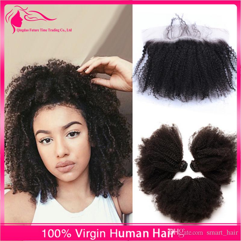 Hot Sale Virgin Human Hair With Lace Frontal 13*4 Afro Kinky Curly Ear To Ear Full Lace Frontals Closures With Bundles 4pcs/lot
