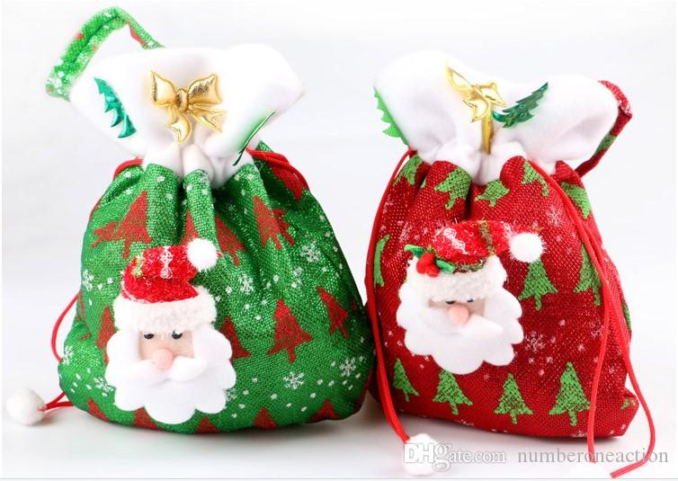 Modello di albero di Natale creativo Babbo Natale Candy Bag Handbag Home Party Decoration Gift Bag Natale Supplie
