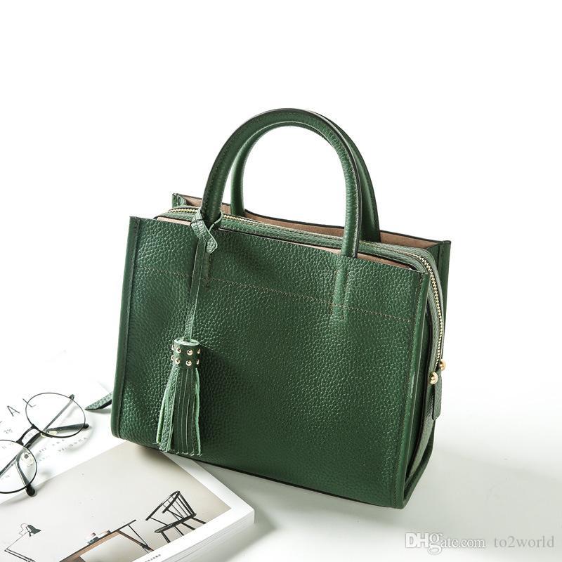 Bolso tote de cuero genuino de la moda bolso de hombro portátil Messenger Bag simple todo-fósforo bolsa de viaje
