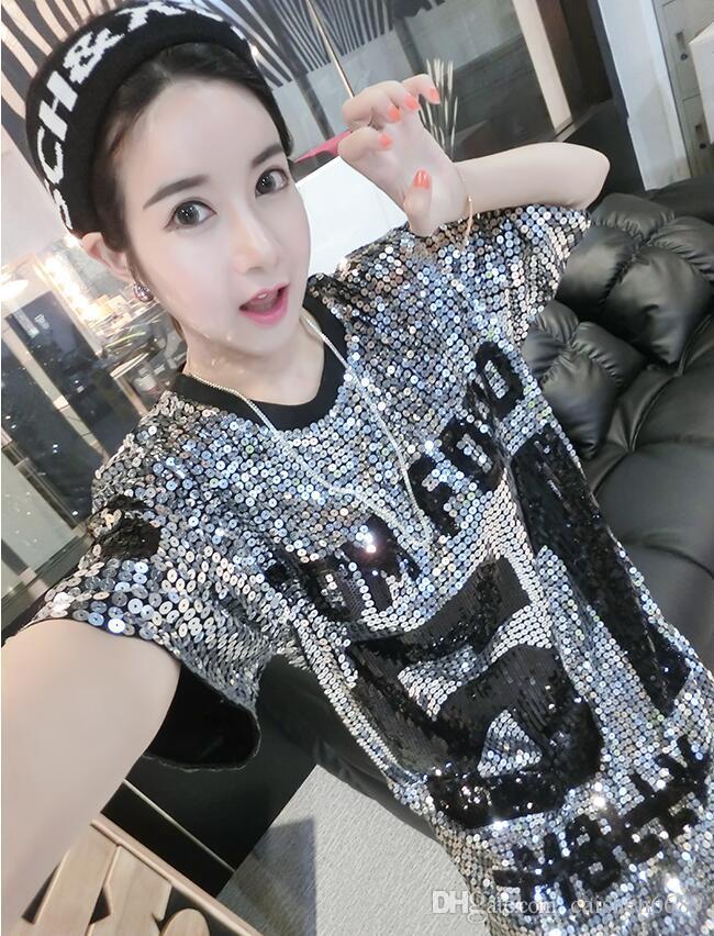 2016 섹시한 한국 스타일 새 스팽글 여름 패션 캐주얼 루즈 반팔 티셔츠 롱 디자인 티셔츠 여성 힙합 티셔츠