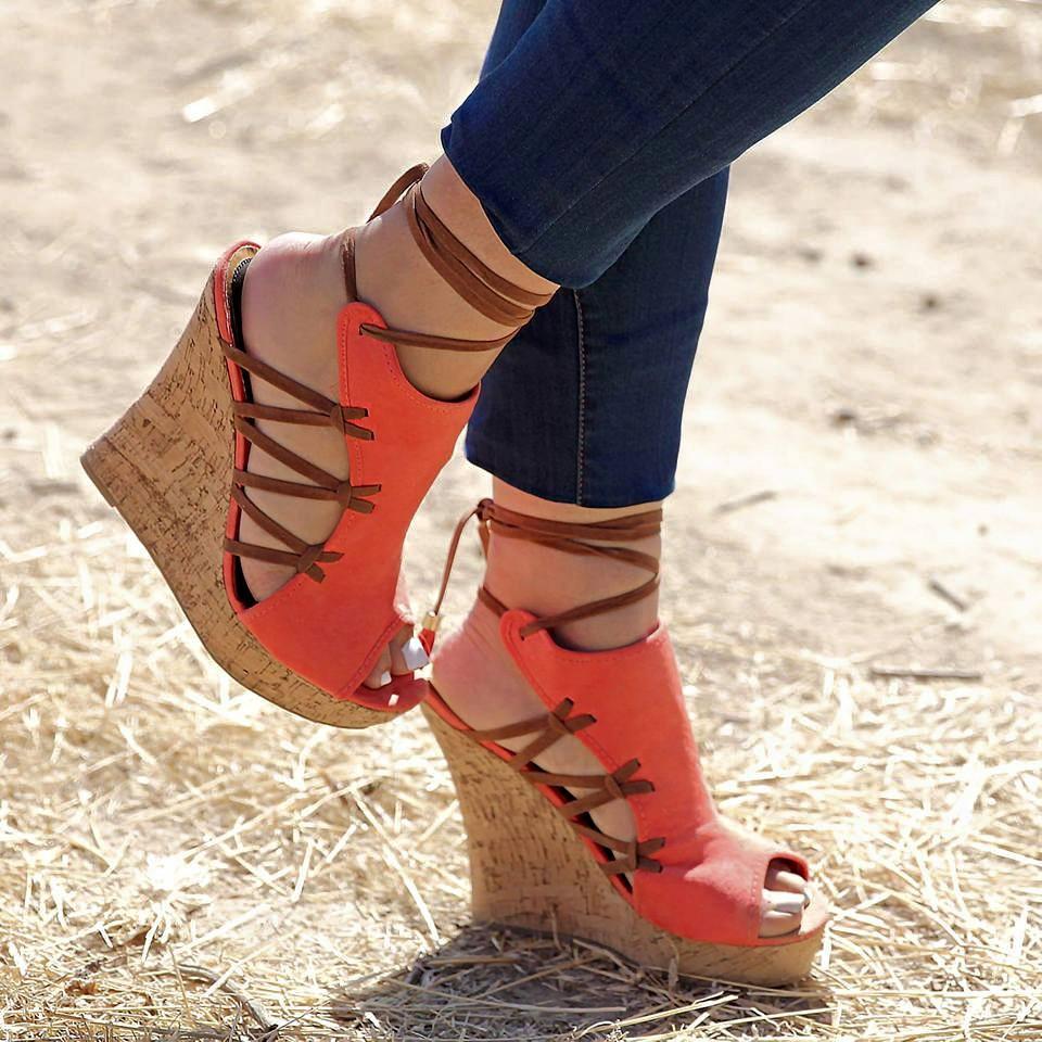 Sandálias da moda 2018 novas mulheres sandálias peep toe lace-up cunhas plataforma sapatos de salto alto sandálias mulher sandalias sapatos de festa mulheres
