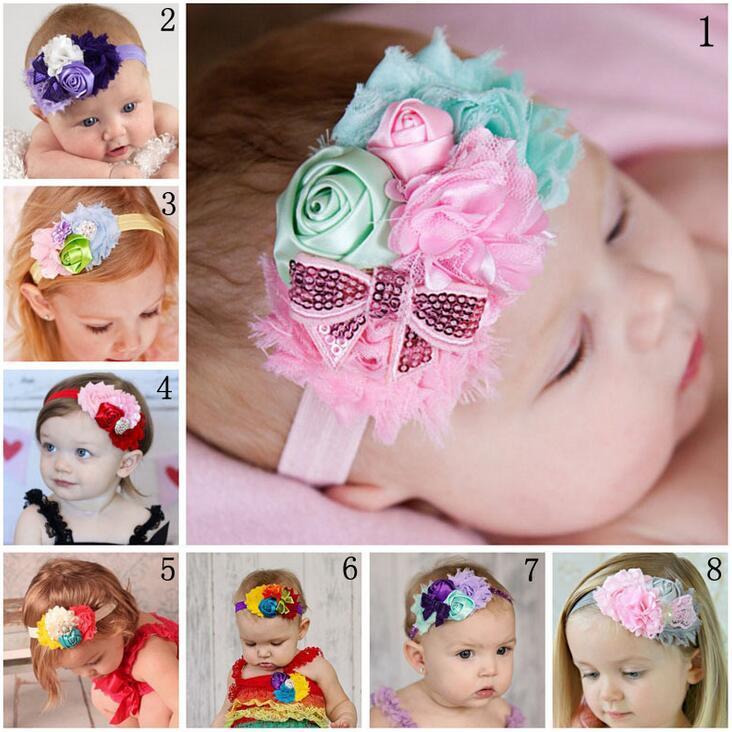 8 Color Kids Baby Pearl Paillette Flor Arco Diademas Cintas Chicas Lindo Arco Banda Pelo Niño Precioso Headwrap niños Bowknot Accesorios Elásticos