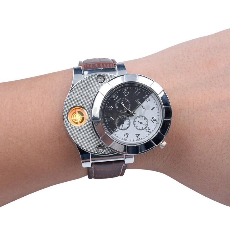 Montres pour hommes Briquet Montres Rechargeable Mode USB Électronique Casual Quartz Montres Coupe-Vent Sans Flamme Allume-cigare Horloge