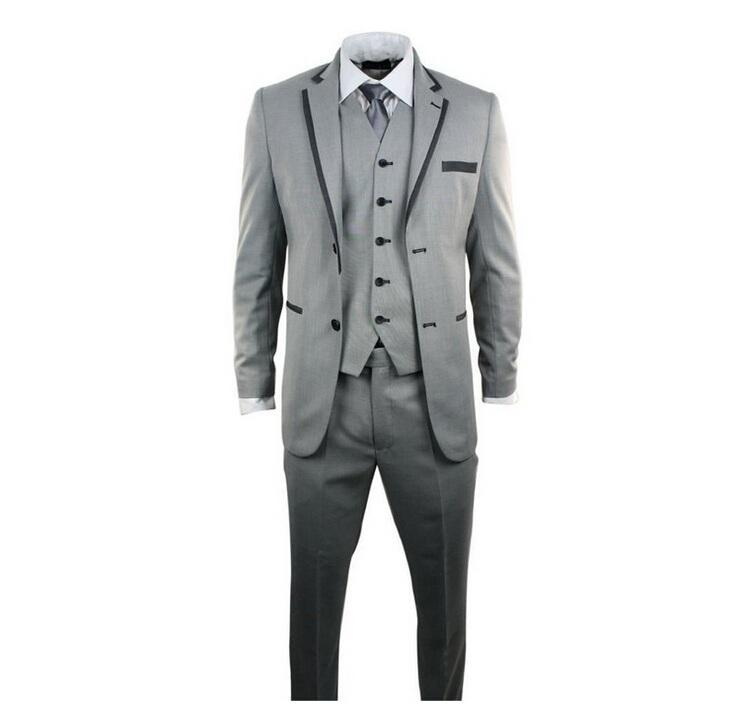 Nuovi uomini di stile vestiti di moda tre pezzi smoking uomo abiti da sposo per abiti da sposa sposo due bottoni smoking (giacca + pantaloni + gilet + cravatta)