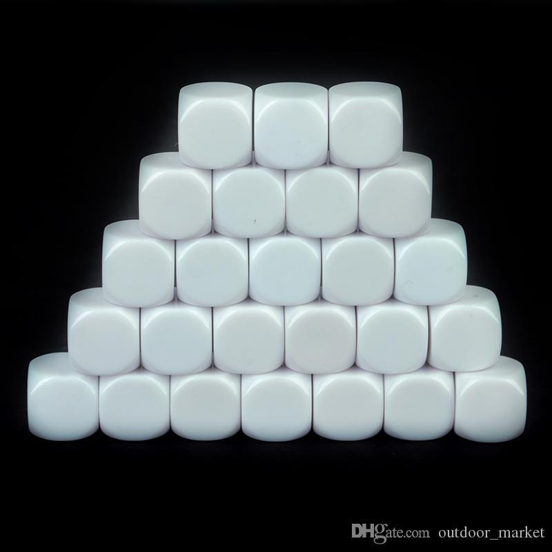 25 шт. Установите белый стандартный размер пустые кубики D6 шестьсторонних акриловых RPG игровая кости 16 мм для BoardGame и других игровых аксессуаров