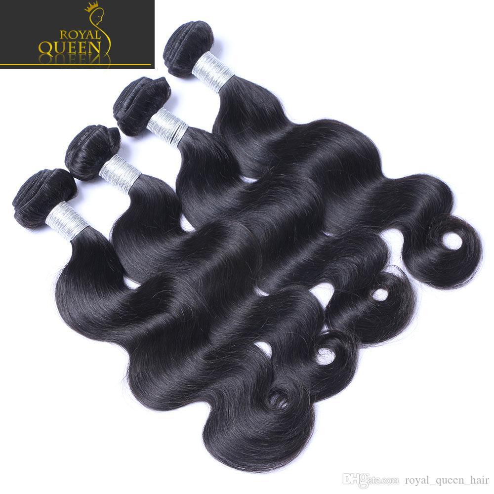 8A Brasiliano Virgin Human Hair Capelli Tessuto Bundles Wave Body Wave Non Trasformato Peruviano Malese Indiano Indiano Cambodiano Puntinnio Estensioni per capelli Colore naturale 1b