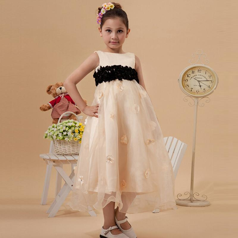 최근 사랑스러운 소녀 차 길이 A 라인 작은 왕자 복장 소녀 손수 꽃 지퍼 뒤로 전문 디자인 사용자 정의 유럽 스타일