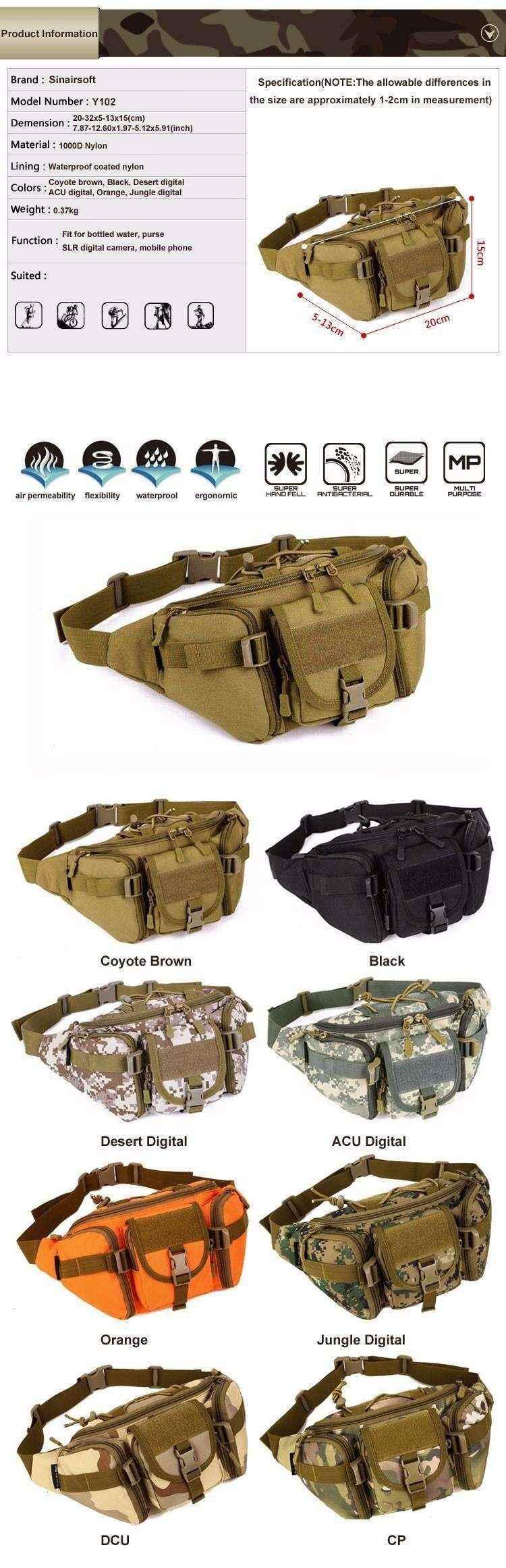 Compre Sinairsoft Tactical Molle Bolsa Impermeable Bolsa De Riñonera ...