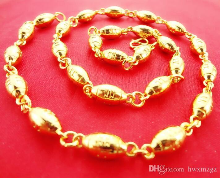 패션 핫 판매자 남성 18K 금 도금 골드 목걸이 큰 전송 구슬 목걸이