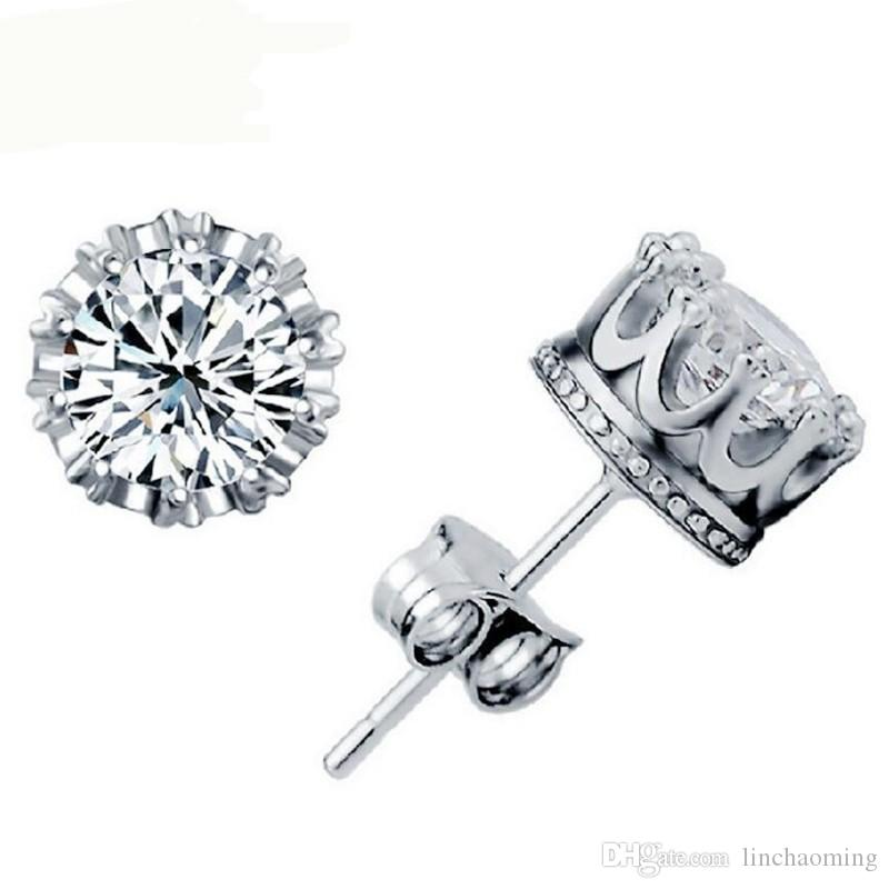 HYWo Luxury Design 925 Sterling silver Clear CZ diamond noble Crown stud earrings Fashion Jewelry gift free shipping