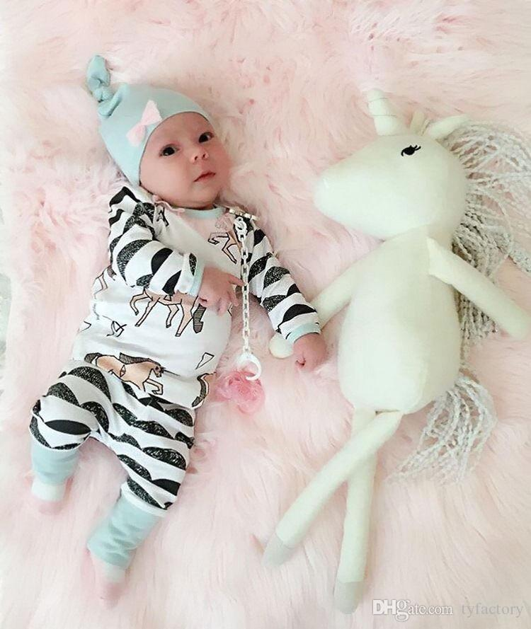 Newborn Kids Baby Boy Girl suits Horse print long sleeve t shirt+cute Pants+Hat 3pcs Outfits bow casual children striped hot Clothes 0-24M