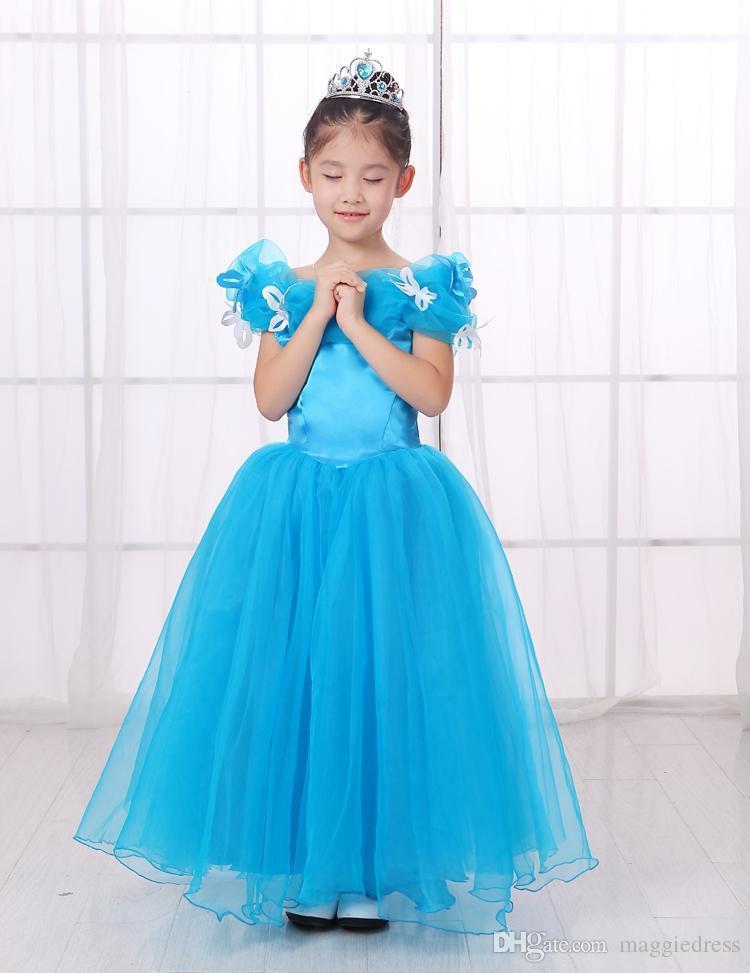 Vestidos para niñas Sweety Off hombro Tulle Zipper LOng Vestido De Mariage Flower Girls Dress Vestidos de primera comunión por encargo SHJ