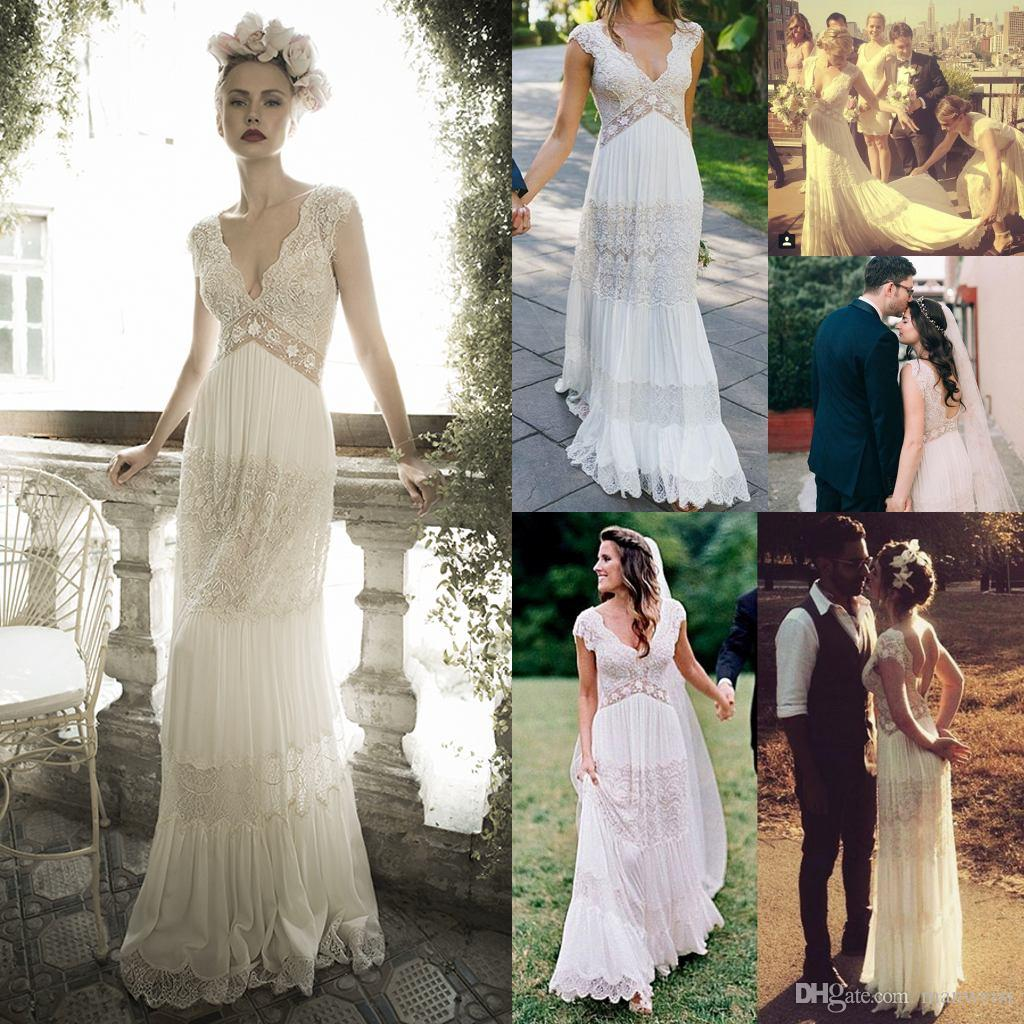 Vintage lihi hod Wedding Dresses Sheer Deep V Neck Backless Bohemia Lace Applique 2019 Wedding Gowns Chiffon Court Train Long Bridal Dress